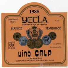 Etiquetas antigas: ETIQUETA VINO CALP - COOPERATIVA LA PURISIMA - YECLA (MURCIA) . Lote 14454798