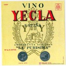 Etiquetas antigas: ETIQUETA VINO - COOPERATIVA LA PURISIMA - YECLA (MURCIA). Lote 14454822