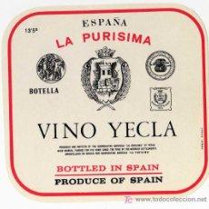 Etiquetas antigas: ETIQUETA VINO - COOPERATIVA LA PURISIMA - YECLA (MURCIA) . Lote 14454921