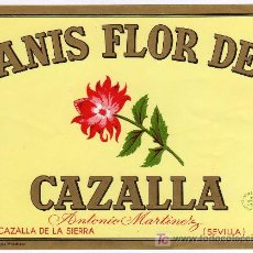 Etiquetas antiguas: ETIQUETA ANIS FLOR DE CAZALLA - ANTONIO MARTINEZ - CAZALLA DE LA SIERRA (SEVILLA). Lote 205853515