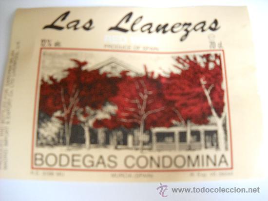 ETIQUETA DE VINO. LAS LLANEZAS. RED WINE. BODEGAS CONDOMINA. MURCIA. (Coleccionismo - Etiquetas)