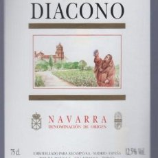 Etiquetas antiguas: VILLAFRANCA. NAVARRA. ETIQUETA DE VINO DIACONO. BODEGAS ALCAMPO. . Lote 14904853