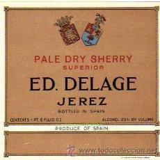 Etiquetas antiguas: ETIQUETA PALE DRY SHERRY SUPERIOR / ED. DELAGE (JEREZ). Lote 15096632