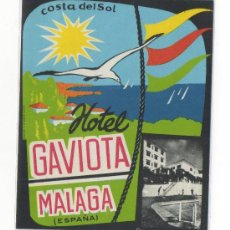 Etiquetas antiguas: ETIQUETA DE HOTEL GAVIOTA COSTA DEL SOL MALAGA . Lote 15176791