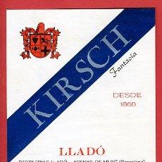 Etiquetas antiguas: ETIQUETA LICOR , KIRSCH , LLEDO , ARENYS DE MUNT , E721. Lote 15578765