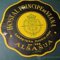 Etiquetas antiguas: ETIQUETA HOTEL : HOSTAL PRINCIPE DE VIANA - ALSASUA NAVARRA 9 CM - DOS MARCAS DE ROCE . Lote 15582397