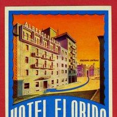 Etiquetas antiguas: ETIQUETA HOTEL-ITALIA - HOTEL FLORIDA-MILANO-ILUSTRACION DATADA-HUECO-L-BARNIZ 90X125 MM. Lote 26786884