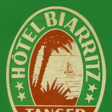 Etiquetas antiguas: ETIQUETA HOTEL - MARRUECOS - HOTEL BIARRITZ-TANGER - ILUSTRACION HUECO -115 MM . Lote 20078195