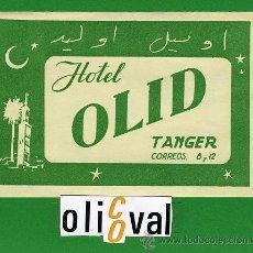 Etiquetas antiguas: ETIQUETA HOTEL - MARRUECOS - HOTEL OLD -TANGER - ILUSTRACION TIPO -110X 75 MM . Lote 20078199