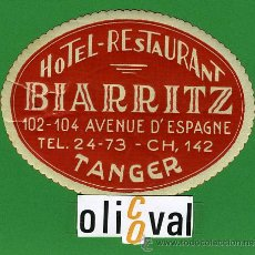 Etiquetas antiguas: ETIQUETA HOTEL - MARRUECOS - HOTEL BIARRITZ -TANGER - TIPO -OVAL 95 MM . Lote 20078200