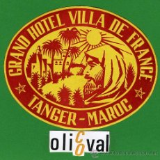 Etiquetas antiguas: ETIQUETA HOTEL - MARRUECOS - HOTEL VILA DE FRANCE -TANGER - ILUSTRACION- TIPO -OVAL 110 MM . Lote 20078203