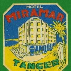 Etiquetas antiguas: ETIQUETA HOTEL - MARRUECOS - HOTEL MIRAMAR -TANGER PLAYA - ILUSTRACION- HUECO100X 110 MM. Lote 20084863