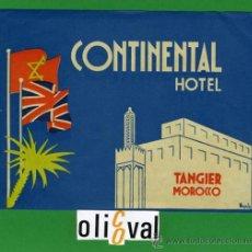 Etiquetas antiguas: ETIQUETA HOTEL - MARRUECOS - HOTEL CONTINENTAL -TANGER - ILUSTRACION FIRMADA- HUECO135X 113 MM . Lote 20084866