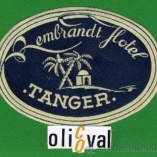 Etiquetas antiguas: ETIQUETA HOTEL - MARRUECOS-HOTEL REMBRANDT -TANGER- ILUSTRACION -TIPO-OVAL 115 MM . Lote 20084869