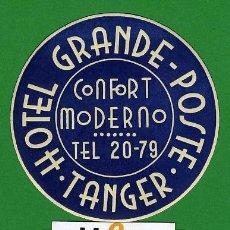 Etiquetas antiguas: ETIQUETA HOTEL - MARRUECOS-HOTEL GRADE-POSTE -DATADO- TANGER -TIPO- 75 MM . Lote 20084870