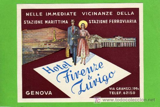 ETIQUETA DE HOTEL - HOTEL FIRENZE & ZUVIGO - GENOVA - ITALIA. (Coleccionismo - Etiquetas)