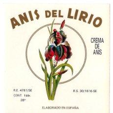 Etiquetas antiguas: ANÍS DEL LIRIO.. Lote 48577073