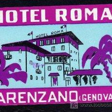 Etiquetas antiguas: ETIQUETA DE HOTEL - HOTEL ROMA - ARENZANO-GENOVA - ITALIA.. Lote 26587345