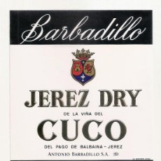 Etiquetas antiguas: JEREZ BARBADILLO CUCO, VERDADERAS ETIQUETAS DE JEREZ ORIGINALES DE COLECCION, SIN SEÑALES DE USO. Lote 245716900