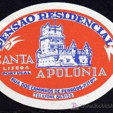 Etiquetas antiguas: ETIQUETA DE HOTEL - PENSÂO RESIDENCIAL SANTA APOLONIA - LISBOA - PORTUGAL.. Lote 24545283