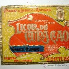 Etiquetas antiguas: ETIQUETA.LICOR DE CURACAO.GENARO GIMENO.BENETUSER.E021. Lote 246857995