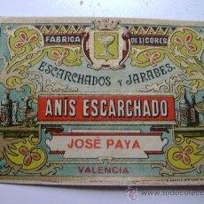 Étiquettes anciennes: ETIQUETA.ANIS ESCARCHADO.JOSE PAYA.VALENCIA.E025. Lote 194868061