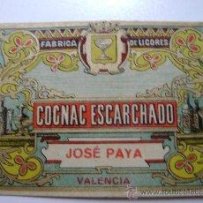 Etiquetas antiguas: ETIQUETA.COGNAC ESCARCHADO.JOSE PAYA.VALENCIA.E026. Lote 194752303