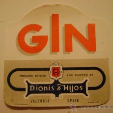Etiquetas antiguas: ETIQUETA.GIN.DIONIS E HIJOS.VALENCIA.E049. Lote 194756280