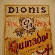 Étiquettes anciennes: ETIQUETA.VINO AÑEJO QUINADO.DIONIS E HIJOS.VALENCIA.E050. Lote 194756458