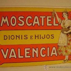 Etiquetas antiguas: ETIQUETA.MOSCATEL.DIONIS E HIJOS.VALENCIA.E053. Lote 194759672