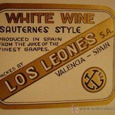 Etiquetas antiguas: ETIQUETA.WHITE WINE.LOS LEONES.VALENCIA.E054. Lote 16801911