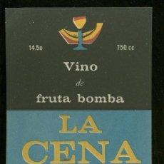 Etiquetas antiguas: ETIQUETA DE VINO DE FRUTA BOMBA. LA GENA. EMPRESA DE BEBIDAS Y LICORES. HABANA.. Lote 16900080