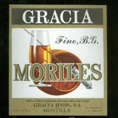 Etiquetas antiguas: ETIQUETA DE FINO MORILES. GRACIA HNOS. MONTILLA. ESPAÑA.. Lote 16901857