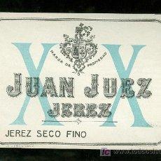 Etiquetas antiguas: ETIQUETA DE JEREZ SECO FINO. JUAN JUEZ. JEREZ. CADIZ.. Lote 17154240