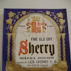 Etiquetas antiguas: FINE OLD SHERRY.E132. Lote 17285086