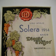 Etiquetas antiguas: SOLERA 1914.SECO.135. Lote 194868875
