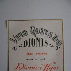 Etiquetas antiguas: VINO QUINADO DIONIS E140. Lote 194869258