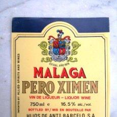 Etiquetas antiguas: ETIQUETA DE BOTELLA HIJOS DE ANTONIO BARCELÓ MALAGA. Lote 17637427