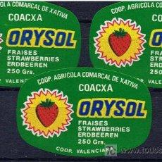 Etiquetas antiguas: ETIQUETAS FRESONERAS ORISOL XATIVA AÑOS 70. Lote 234320375