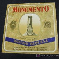 Etiquetas antiguas: MONUMENTO - VINO DE MESA - ROSADO REQUENA - VALENCIA - . Lote 17861624