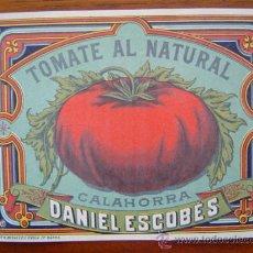 Etiquetas antiguas: ETIQUETA DE TOMATE AL NATURAL (FIN XIX-PRINCIPOS XX)-FABRICA DE CONSERVAS DANIEL ESCOBES - CALAHORRA. Lote 27566854