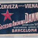 Etiquetas antiguas: ETIQUETA MUY ANTIGUA **SOCIEDAD ANONIMA DAMM - BARCELONA **. Lote 102153078
