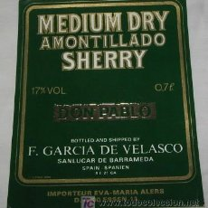 Etiquetas antiguas: ETIQUETA DE MEDIUM DRY AMONTILLADO SHERRY DON PABLO . Lote 18492522