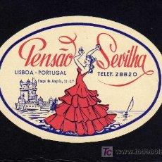 Etiquetas antiguas: ETIQUETA HOTEL - PENSAO SEVILHA - LISBOA - PORTUGAL.. Lote 26804812