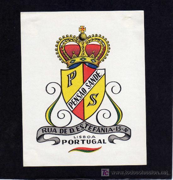 ETIQUETA HOTEL - PENSAO SANDE - LISBOA - PORTUGAL. (Coleccionismo - Etiquetas)