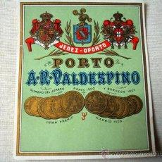 Etiquetas antiguas: ETIQUETA OPORTO VALDESPINO -JEREZ-. Lote 26998935