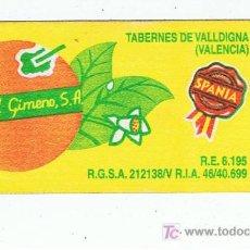 Etiquetas antiguas: ETIQUETA PARA BOLSAS DE NARANJAS ISMAEL GIMENO TAVERNES DE LA VALLDIGNA VALENCIA. Lote 254766715