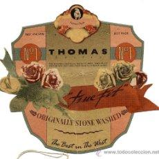 Etiquetas antiguas: ETIQUETA ROPA THOMAS . Lote 19225061