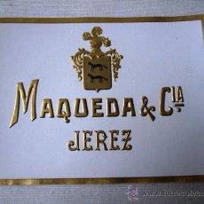 Etiquetas antiguas: ETIQUETA DE BOTELLA - JEREZ DE LA FRONTERA - TROQUELADA. Lote 27455596