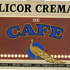 Etiquetas antiguas: ETIQUETA * LICOR CREMA DE CAFÉ * - DESTILERIAS J. SELGA (MANRESA). Lote 19281746